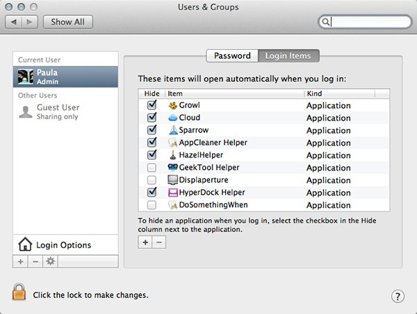 Login Items lets you decide what OS X launches on login.