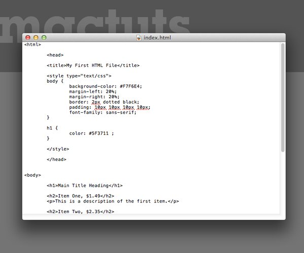 TextEdit Is Now Set Up For Basic HTML Code Editing