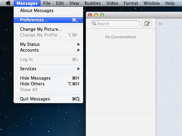 Open Messages Preferences Panel