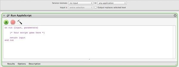 Drag the Run AppleScript action to the center pane.