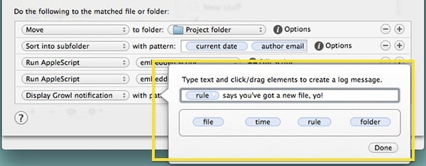 Use the variables in Hazel to customize your notification.
