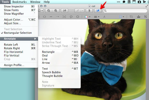 Click the Show Edit Toolbar icon or find everything in the Tools menu