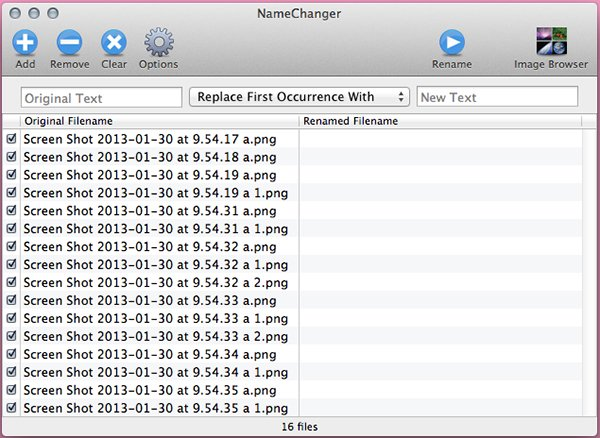 Get your files into NameChanger Theyll appear in the left pane