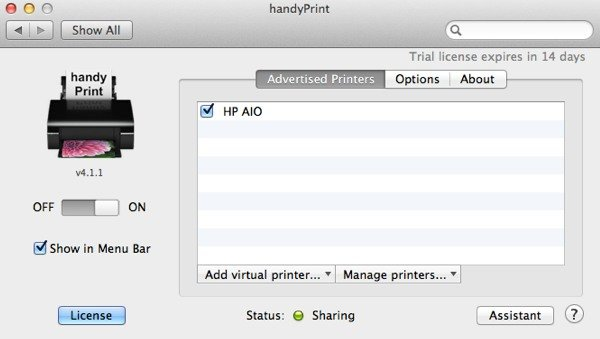 Once you enable handyPrint, any attached printers will be displayed for iOS devices to use