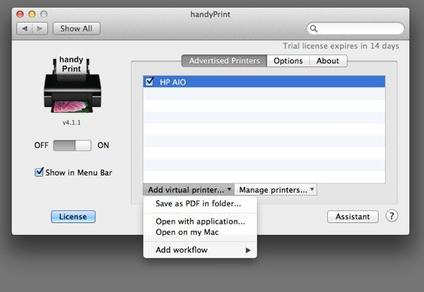 """Folders are set up as """"virtual printers"""" within handyPrint"""