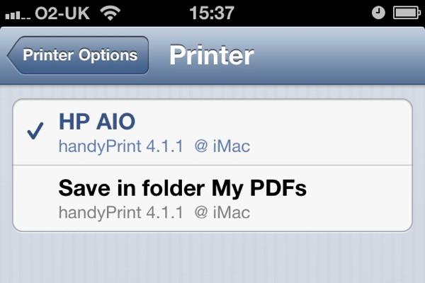 Similar to Printopia, handyPrint also displays folders as printers in iOS