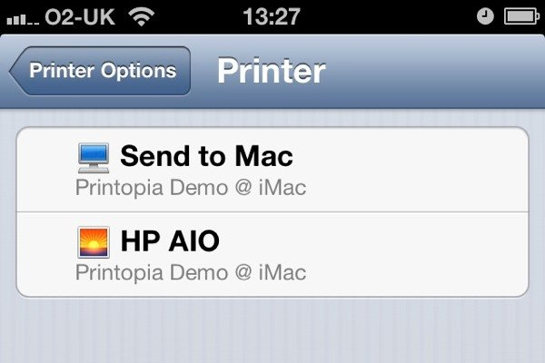 Your iOS device will see all the printers and folders you've set up on your Mac as though they're AirPrint devices