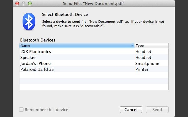 Once you've picked the file you want to send, you then select the device to send it to