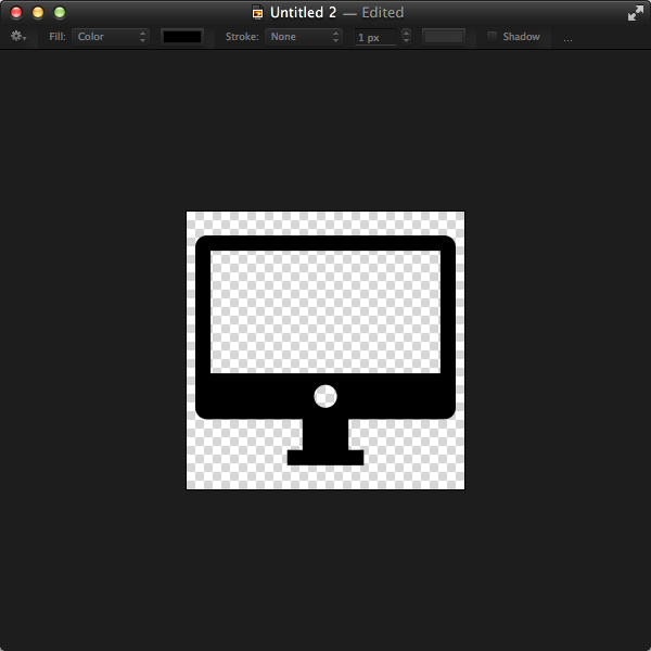 Our icon that PopClip uses needs to be a 256px square with a transparent background and a solid area in black