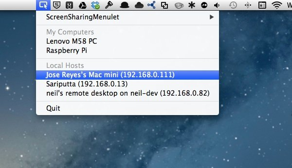 Using ScreenSharingMenulet for easy access to other devices from the menu bar