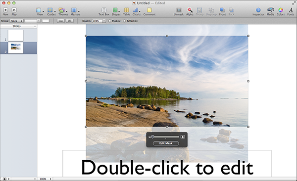 Cropping an image directly within Keynote using the Mask function