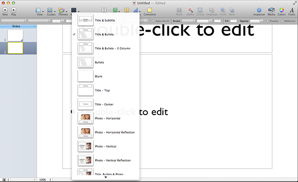 The Masters view shows you all the layouts possible with the template youve selected