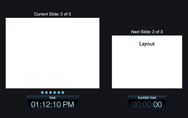 The Rehearse view is really useful especially when youre using an external display device