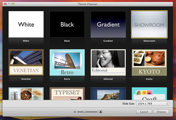 Keynote comes with loads of professional templates built right in