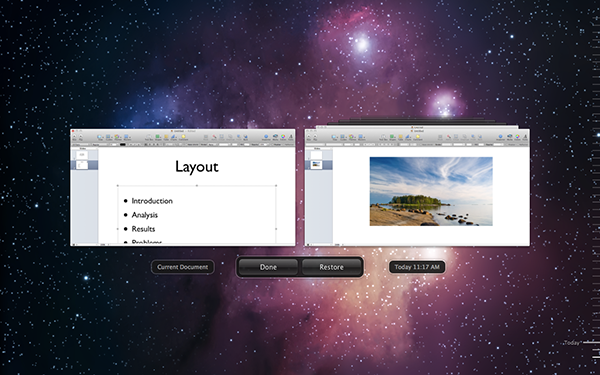 The Versions view within Keynote