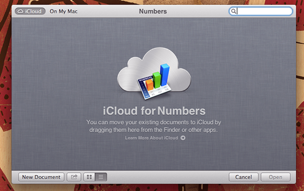 The splash screen of Numbers, showing the iCloud integration.