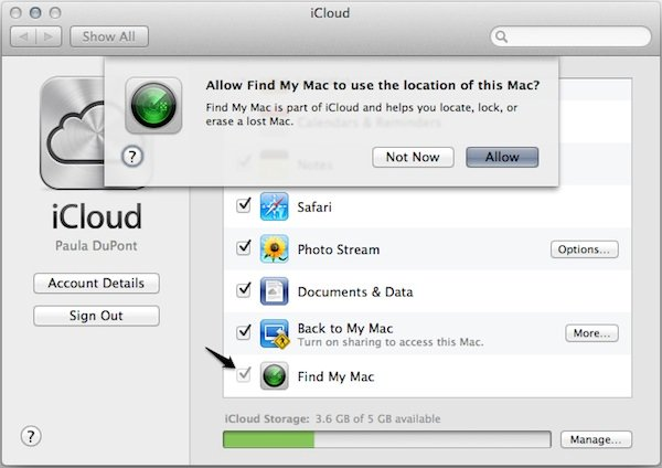 Turn on Find My Mac and allow Find My Mac to track your Mac's location.