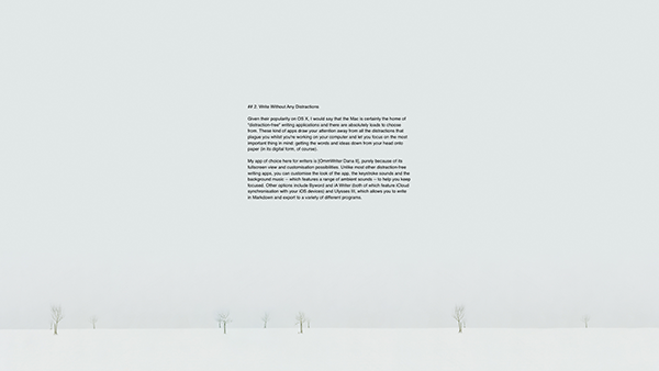 OmmWriter is great for distraction-free writing thanks to its fullscreen view and range of customisation possibilities.