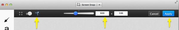 """To resize images in Skitch, first click the resize icon near the upper left hand. In this screenshot, I've highlighted it with a yellow area. Next, enter a pixel dimension. Skitch constrains proportions to keep your images from pixelating. Finally, press """"apply"""" to resize."""