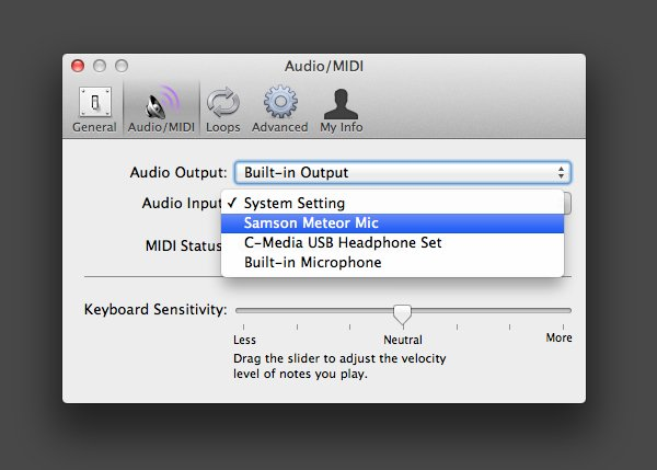 Changing the microphone in GarageBands preferences will alter the project accordingly