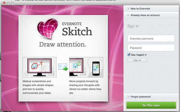 skitch setup window