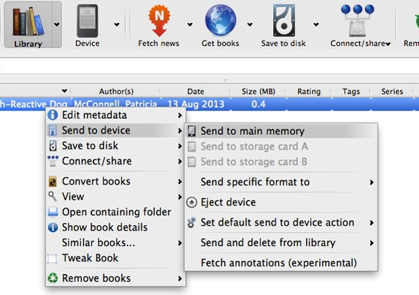 Once your chosen e-book has successfully converted format, it is ready to be sent to your e-book reader.