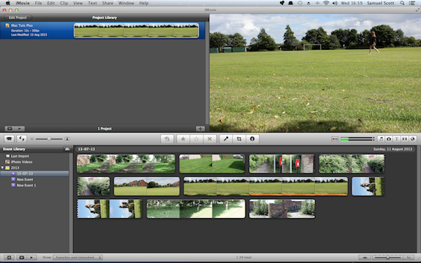 After starting a project and adding clips to an event your iMovie interface will look a bit more like this.