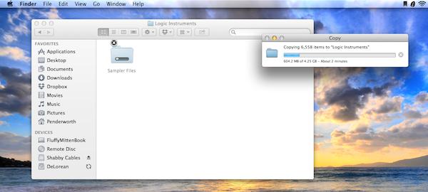 Copying the sampler files.