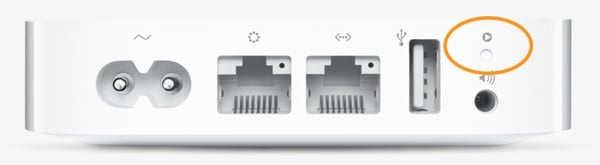 The reset button is a recessed, small button that is only accessible via a paperclip or pencil.