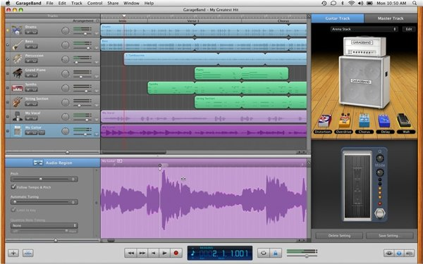 GarageBand comes free with the Mac and is a powerful audio recording and editing suite.