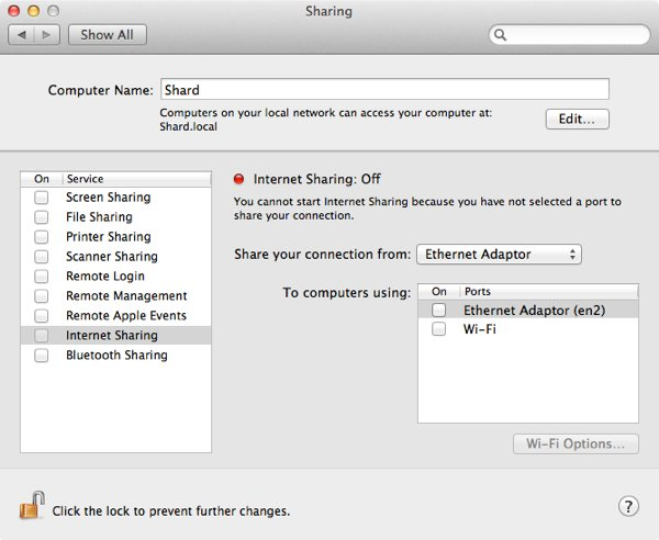 Internet Sharing cannot be enabled until it is configured first.