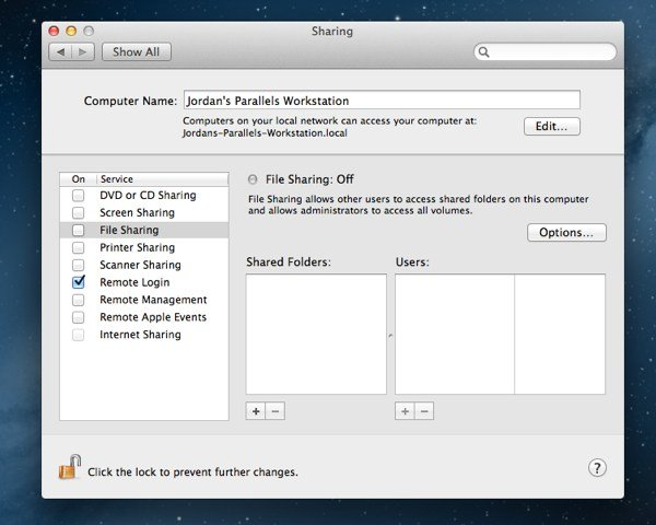 Sharing includes a number of options for different sharing and remote services.