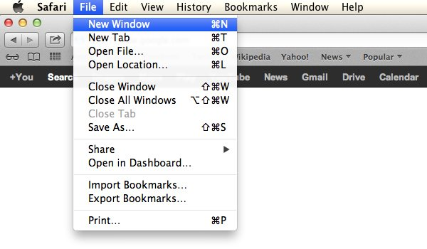 Click File and then New Window to open a new window.