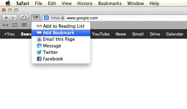 Click on the Share icon and then Add Bookmark.