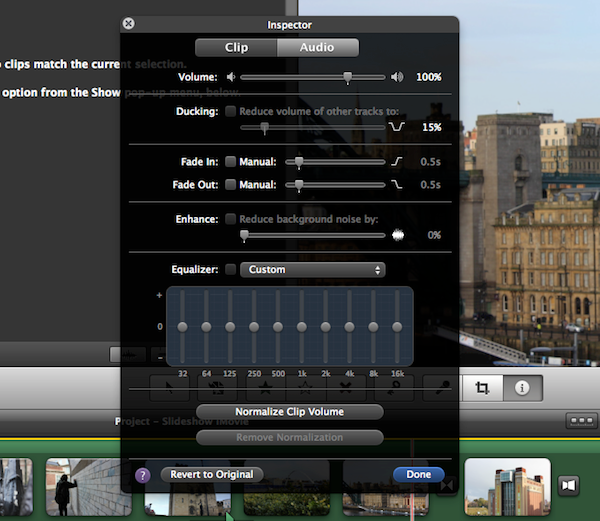 Audio also has an Inspector loaded with various settings.