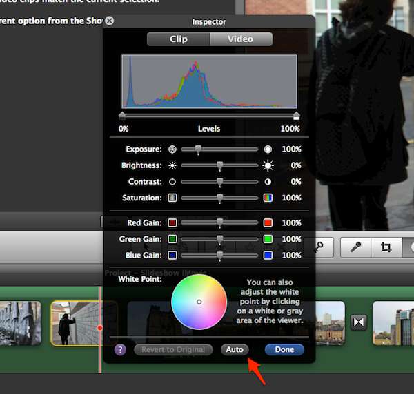 The Auto button is my favourite tool to use when editing my images on iMovie.