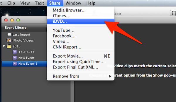 iDVD is quickly accessed through iMovie.
