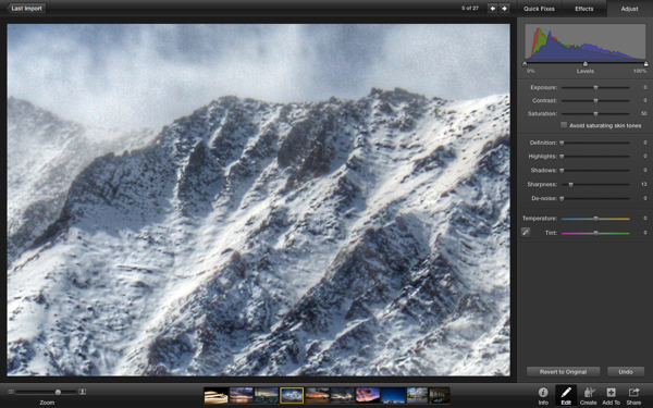 Zooming in on an image to see how the sharpness adjustments have been applied.