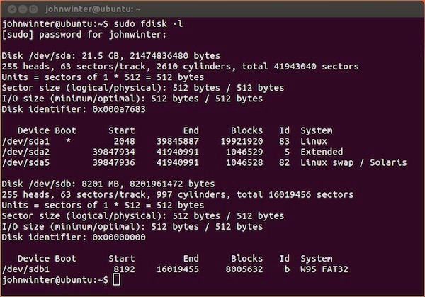 Listing the attached volumes in Ubuntu Linux