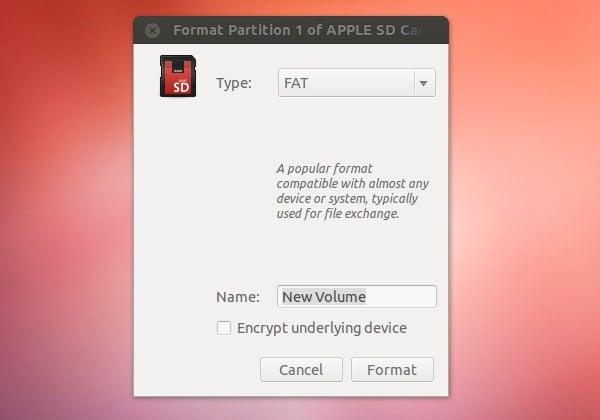 Formatting the SD card using Ubuntu Linux