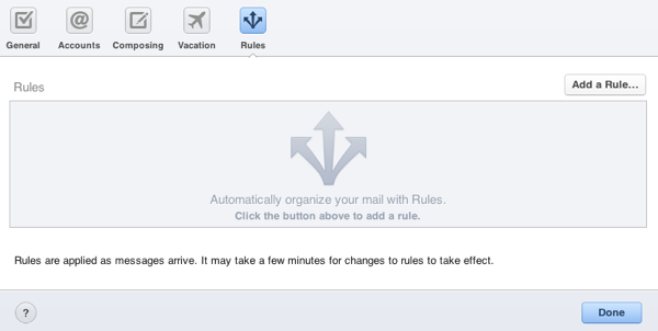 iCloud's Mail Rules can be configured in a similar way to Mail in Mac OS X.