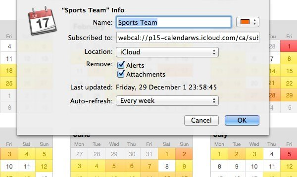 Subscribing to public calendars, which are read-only, have a few additional options that you can configure.
