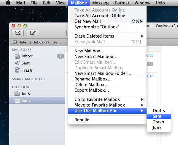 You can change which folders Mail saves items to using this menu.