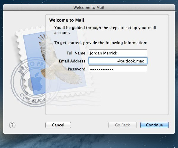 When entering your Outlook.com email address, make sure to use an incorrect domain such as .mac.