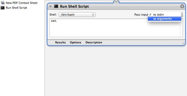 """Once the """"Run Shell Script"""" has been added to our workflow, make sure to change how the input is passed."""