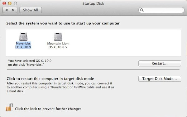 Selecting the volume from which to boot next time the Mac is restarted