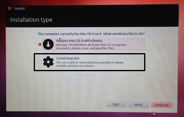 """If you don't want to replace your OS X partition, choose """"Something Else"""" on the Installation Type screen."""