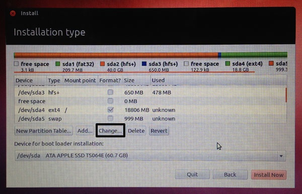 On the Ubuntu partition menu, you should see the space you denoted for your Linux install (in my case, 20GB).