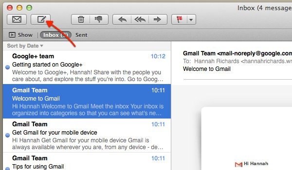 Click the Compose New Message icon to create a new email.