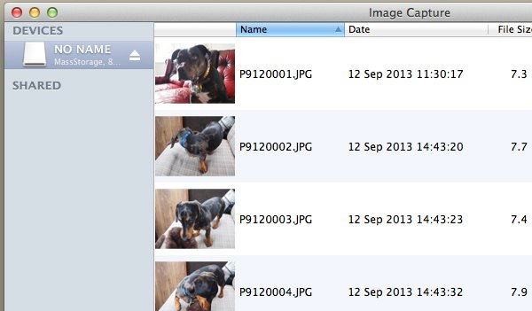 Image Capture will automatically recognise your device.